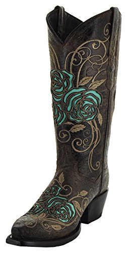 Soto Boots Turquoise Rose Country Cowgirl Boots by M50032 (Handmade Cowgirl Boots)