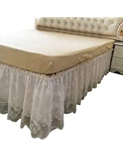 Adonis Pigou Wrap-Around Lace Bed Skirt Ruffled Bedskirt Dust Cover Ruffle Bed Sheet Case