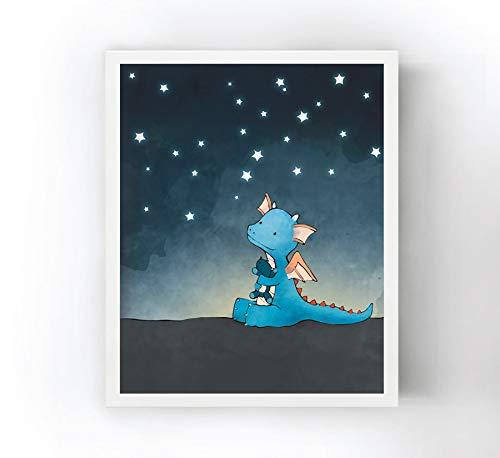 11x14 Borderless Matte Heavyweight Paper - Dragon Nursery Art Print - Under a Starry Sky