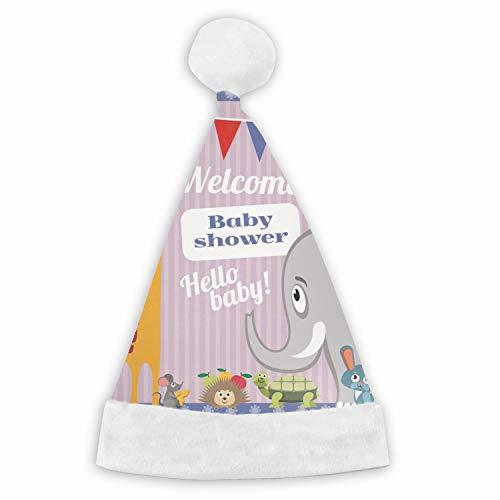 Leopard Baby Shower Invitation - Santa Hat,Baby Shower Invitation Cute Animals Unisex Velvet Fabric Christmas Hat with Comfort Lining&Plush Brim