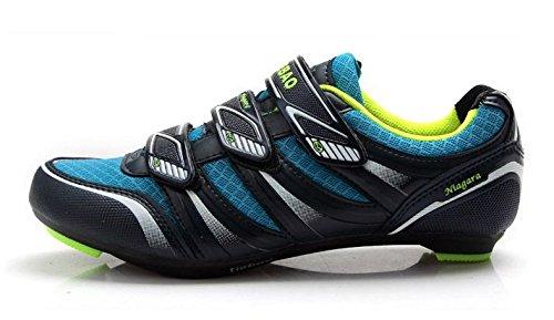 Weideng Men's Professional Cycling Sport Casual Ventilative Shoe Comfortable Fiberglass-Nylon Outsole Road Bike Shoes Blue 46