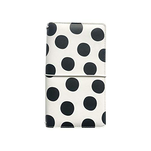 Black & White Dot Leather Cover Traveler Notebook Fashion Journals Planner Office And School Supplies Stationery
