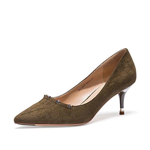 Tacones De Cuero Altos satined Moda Armygreen Fine Señaló Rhinestone Xzgc Sexy Zapatos Con qSI64Ow