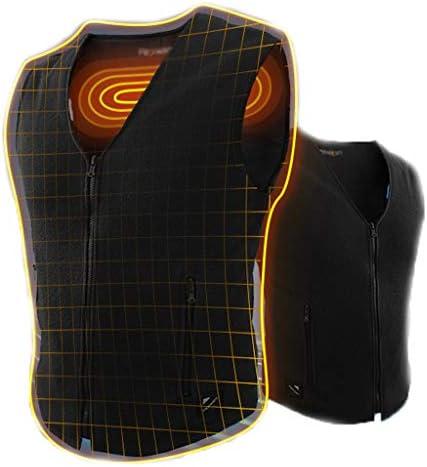 ベスト電気加熱、アウトドアスポーツ病予防、3段階の洗浄温度制御、バッテリーと遠赤外線加熱 (色 : 黒, サイズ : S)