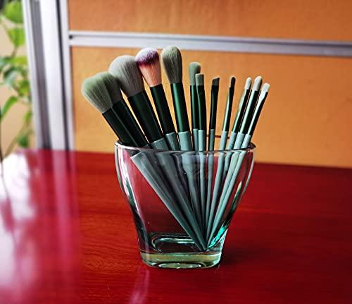 Zexzen PenHolderforDesk, PencilHolder DeskAccessoriesCuteforGirl, Toothbrush Holder Makeup Brush Organizer for Bathroom, Home, Office, Green Glass