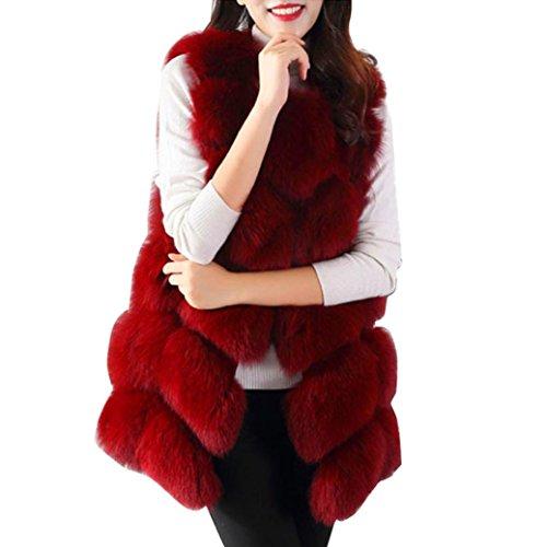 Chaleco largo de mujer Chaleco de piel sintética (Blanco, chaleco de mujer-pequeño) Rojo