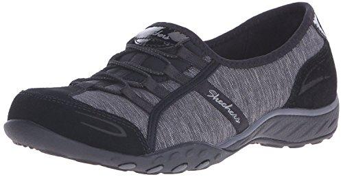 Skechers Sport Women's Breathe Easy Pretty Lady Fashion Sneaker,Black Suede/Charcoal,7 M US