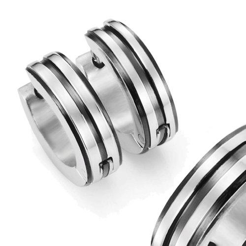 Mens 316L Stainless Steel Two Tone Hoop Huggie Earrings with Black IP 10mm