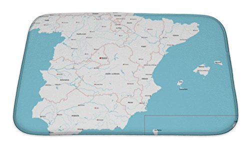 Gear New Bath Mat For Bathroom, Memory Foam Non Slip, Large And Detailed Map Of Spain And Spanish Islands, 24x17, 5400019GN by Gear New