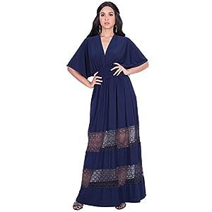 3635cc8392c3 KOH KOH Plus Size Womens Long Sexy Summer Spring V-Neck Half Short Kimono  Sleeve Sundress Lace Flowy Casual Empire Waist Boho Bohemian Tall Beach  Elegant ...