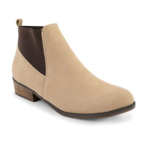 Ankle On Chelsea Pull Heel Ladies Dolcis Flat Shoes Size Block Low Womens Sand Boots zExSwvnv
