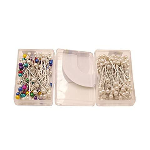SuZhi 200-Count Pearlized Ball Head Straight Pins (Multi&White) (Assorted Broaches)