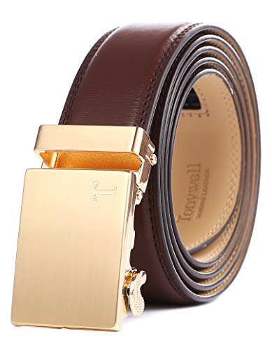 Tonywell Mens Genuine Leather Ratchet Fashion Belt with Automatic Buckle (One Size:32