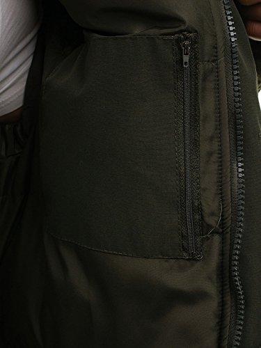 Lunga Uomo Verde Cerniera Cappuccio 4d4 Invernale Classico – Parka Giacca Bolf Con 610nwq