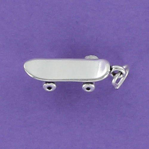 Skateboard Charm Sterling Silver for Bracelet Wheels Long Sidewalk Surf Park - Jewelry Accessories Key Chain Bracelets Crafting Bracelet Necklace Pendants