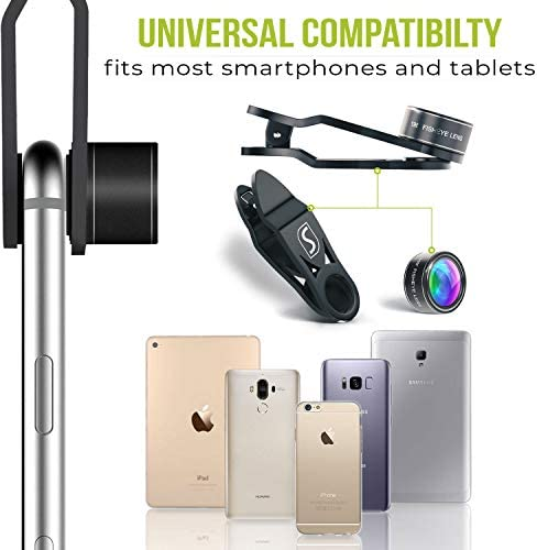 5 in 1 Phone Camera Lens Kit – Optical Glass Attachment Set – 2X Zoom Telephoto, 198 Fisheye, 0.63X Wide Angle, 15X Macro, CPL Filter with Universal Clip Adapter for Cell Phones and Tablets (Black) 41bZUScWFNL