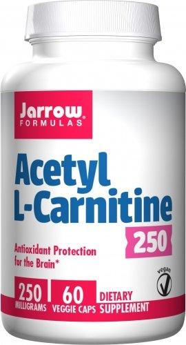 Jarrow Acetyl L-Carnitine 250 milligrams 60 Vegetarian Capsules. Pack of 8 Bottles. by Jarrow Formulas
