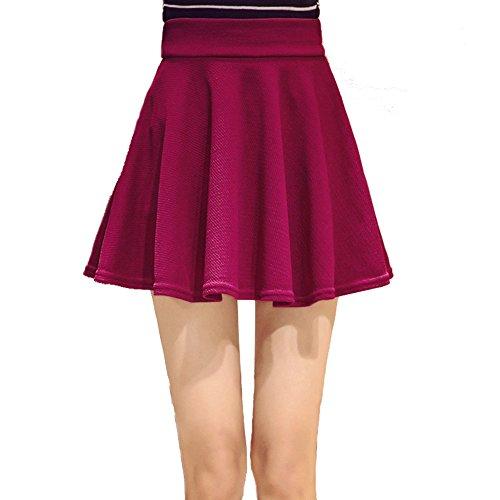 Oderola Femme mini jupe plisse lastique vase lgant Patineur Jupe couleur unie avec Legging Vin Rouge