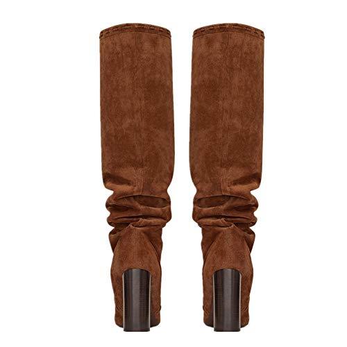 Haute Bottes Fête Travail Talons Suède Soir Bloc Talon Brown L'automne Chaussures Aiguilles Cuissardes Hiver Femmes Marron Étirer Bottes Houppe gRdO6qIdw