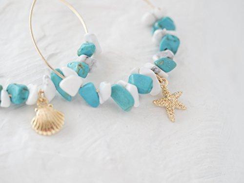 Starfish Shell Beach Hoop Earrings Mixed Simulated Turquoise & Simulated (Turquoise Starfish Earrings)