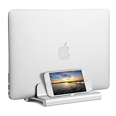 Vertical Laptop Stand, M.Way Adjustable Aluminum BookArc Space-Saving Desktop Stand Holder for All MacBook, Notebooks ( thickness from 0.4 inch to 1.18 inch )