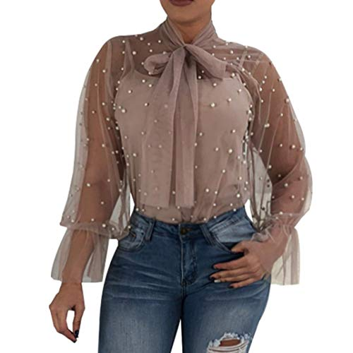 Beads Mauve Transparent (Youngh Womens Blouses Lace Nail Bead Transparent Turtleneck Sexy Tops Fashion Beach Casual Shirts)