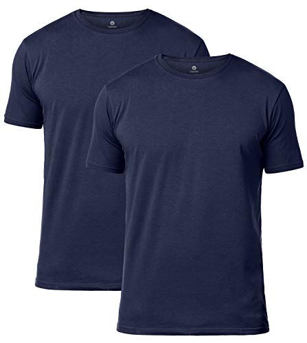 - LAPASA Men's Short Sleeve Cotton Stretch Undershirts Crewneck T-Shirts Solid Plain Tees 2 Pack M05 (X-Large, Navy)