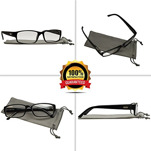 Reading Glasses 3 Pack Black Always Have a Professional Look, Crystal Clear Vision and Sure-Flex Comfort Spring Arms & Dura-Tight Screws 100% Guarantee +2.50 by TruVision Readers (Image #5)