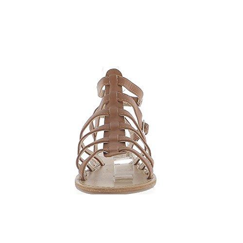 Sandales spartiates camel aspect cuir brillant avec 6 fines brides