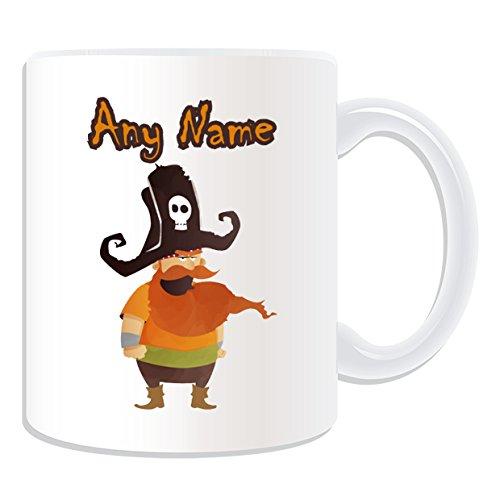 De regalo con mensaje personalizado - barbaroja taza de capitán pirata (molde para hacer una diseño de, blanco) - nombre personalizable para/de mensaje tu ...
