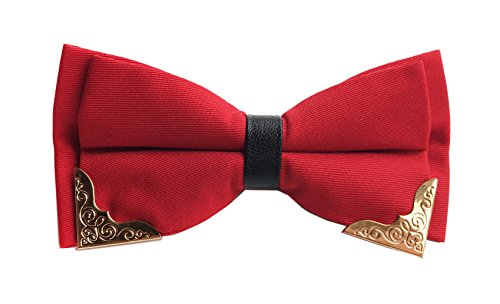 Men's Solid Color Red Classic Pre-Tied Formal Tuxedo Formal Banded Teen Bow (Red Gold Bow)