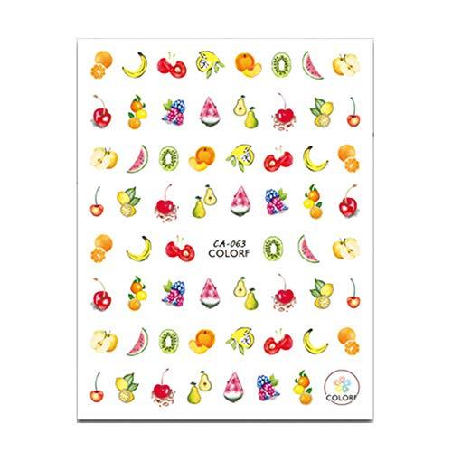 - zzJiaCzs Nail Art Stickers,Nail Decals,Fresh Fruit Garland Nail Sticker Women Water Transfer Art Decor Adhesive Decal for Women Girls Manicure DIY or Nail Salon 63#