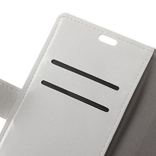 Lusee® PU Caso de cuero sintético Funda para XiaoMI MI 6 Plus 5.7 Pulgada Cubierta con funda de silicona botón caballo Loco patrón Rosa caballo Loco patrón blanco
