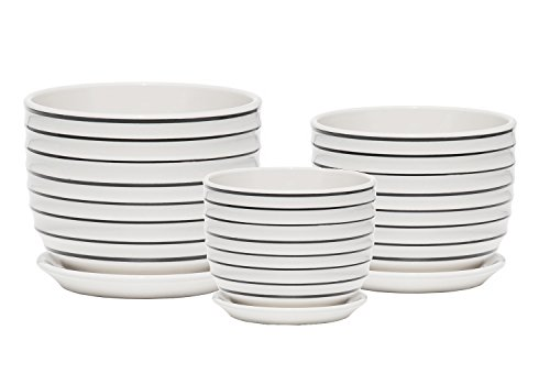 Ceramic Plant Pot - Indoor Garden Flower Planter Pots with Saucers, 4 6 7 Inch Set of 3 (White and Black ()