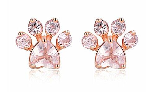 Lingduan Cute Dog Claws For Women Girls Stud Earrings Animal Claws Paw Earrings Rose Gold Cat Dog Claws Stud Earrings For Women