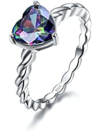 Womens 925 Sterling Silver Rope Band Created Mystic Rainbow Topaz Heart Ring