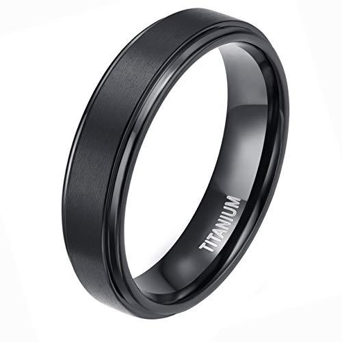 TIGRADE Men's Black 6mm Titanium Wedding Rings Matte Finish Center Polish Edge Band(8.5)