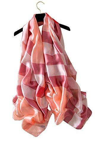 HenMerry Women Neck Wraps Shawl Stripes Plaid Scarves Sunscreen Shawl Scarf Soft Simulation Silk Printed Wrap Scarf (Pink)
