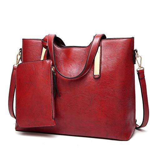Tote Shoulder del Bag delle Set di dell'unità Vino cuoio della elaborazione Bag donne modo 2pcs Rosso Cachi borsa 1wzwOvq