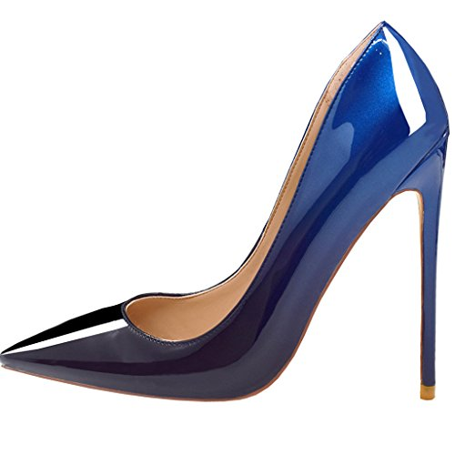 lack Pointed Toe High Heel Slip On Stiletto Pumps Wedding Party Basic Shoes 7.5 M US (Blue Patent Pointed Toe Heels)