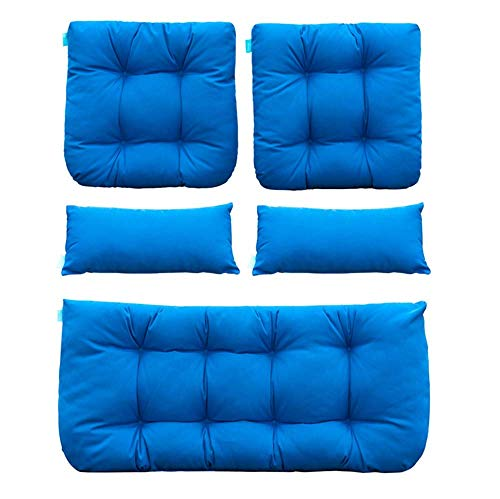 QILLOWAY Outdoor Patio Wicker Seat Cushions Group Loveseat/Two U-Shape/Two Lumbar Pillows for Patio Furniture,Wicker Loveseat,Bench,Porch,Settee of 5 (Blue) (Renewed)