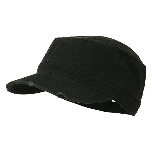 Garment Washed Distressed Military Cap - Black OSFM