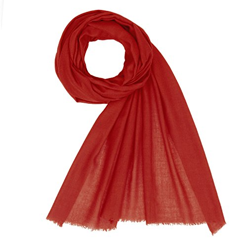 KASHFAB Kashmir Womens Mens Winter Fashion Solid Scarf, Cashmere Stole, Soft Long Shawl, Warm Pashmina Bright Red (Made In Scarf India)