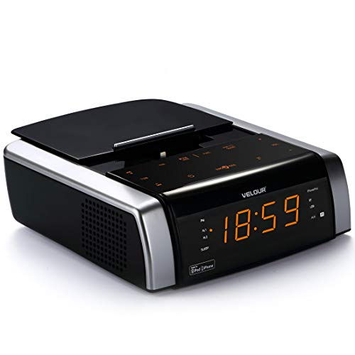 VELOUR Alarm Clock with Charging Docking Station Speaker FM Radio Bluetooth USB AUX-in (Apple MFi Certified)