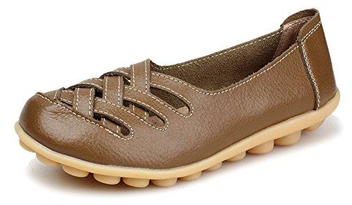 Kunsto Chaussures En Cuir De Mocassins Pour Femmes Glissent Sur Khaki-hollow Out