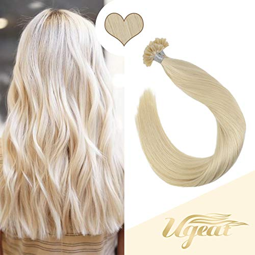 Ugeat 18 Inch 50gram U Tip Thick Hair Extensions Fusion Hair of Platinum Blonde Color #60 Hair Extensions Human Hair Keratin Long Straight Remy Human Hair (60 Blonde Hair Extensions)