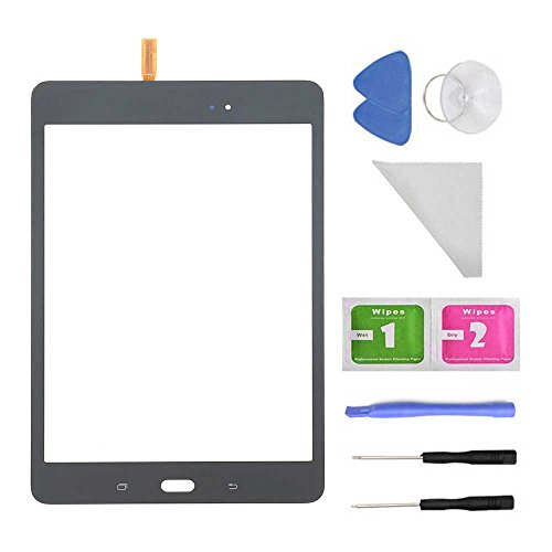 Black Touch Screen Glass Digitizer for Samsung Galaxy Tab A 8.0 SM-T350 T350 (Not include LCD) + PreInstalled Adhesive with tools with Tool by First Choose