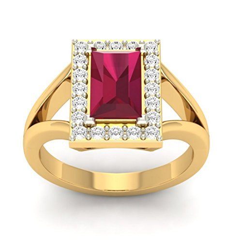 Or jaune 18K, 0,36carat Diamant Taille ronde (IJ | SI) Semi précieux Rubis et diamant Bague
