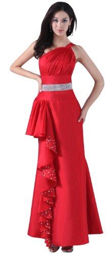 herafa p31566-2 Evening Gowns Romantic Style One Shoulder Sleeveless Rows of Rhinestone Long Sheath Red