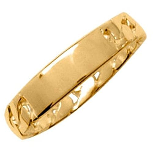 18k Gold Vermeil Plate (So Chic Jewels - Vermeil - Silver Gilt (18k Gold over 925 Sterling Silver) Chain Plate Band Ring - Customisable: Your Message Engraved Free - Size 13)